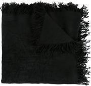 Frayed Edge Scarf Men Silkrayon One Size, Black