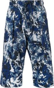 Printed Cropped Trousers Men Nylonpolyester 2, Blue