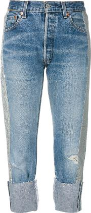 Kendall Kylie Sequin Stripe Cropped Jeans