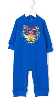 Tiger Embroidered Rompers Kids Cotton 3 Mth, Blue