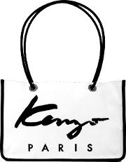 Shopping Bag Women Cottoncalf Leathernylon One Size, White