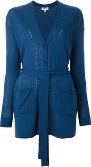 Tie Waist Cardigan Women Wool M, Blue