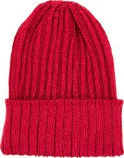 Ribbed Beanie Hat Men Hempnylonpolyurethane One Size, Red