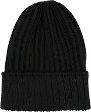 Ribbed Knit Beanie Men Hempnylonpolyurethane One Size, Black