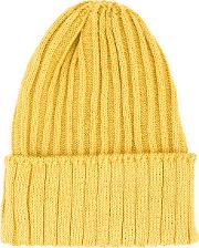 Ribbed Knit Beanie Men Hempnylonpolyurethane One Size, Yelloworange