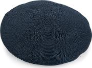 Ribbed Knit Beret Men Paperpolyester One Size, Blue