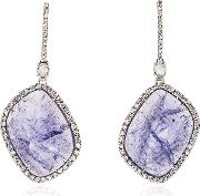 Purple And White Gold Quartz And Diamond Earrings