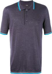 Contrast Stripe Polo Shirt Men Silklinenflax L, Blue