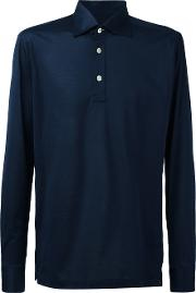 Long Sleeve Polo Shirt Men Cotton M, Blue