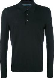 Longsleeved Polo Shirt Men Wool L, Black