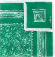 Paisley Print Pocket Square Men Linenflax One Size, Green