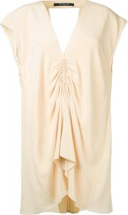 Gathered Front Blouse Women Silk 14, Nudeneutrals