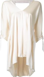 V Neck Blouse Women Silk Satin 6, Women's, White