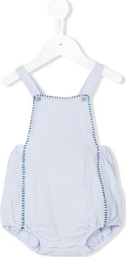 Embroidered Romper Kids Linenflaxcotton 12 Mth, Blue