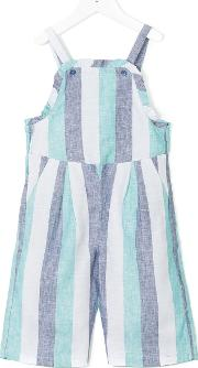 Knot Ocean Stripes Dungaree Kids Linenflax 10 Yrs, Blue