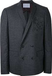 Embroidered Two Piece Suit Men Wool 3, Grey