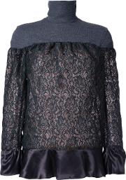 Lace Panel Top Women Polyester 1, Grey