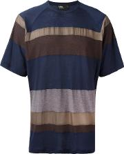 Striped T Shirt Men Cottonnyloncupro 5, Blue