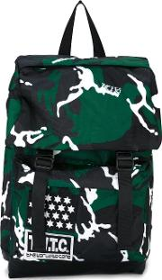 Camouflage Print Backpack Men Nylon One Size, Green