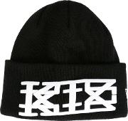 Embroidered Logo Beanie Unisex Acrylic One Size, Black