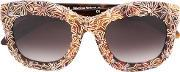 Floral Print Sunglasses Women Acetate One Size, Women's, Brown