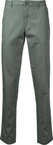 Slim Fit Chino Trousers Men Cotton 32, Green