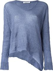 V Neck Knitted Blouse Women Silkcashmereother Fibers M, Women's, Blue