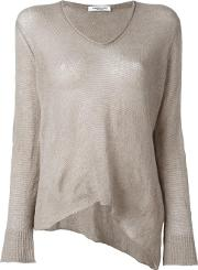 V Neck Knitted Blouse Women Silkcashmereother Fibers S, Nudeneutrals