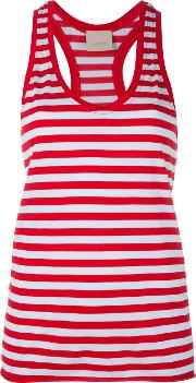 Striped Scoop Neck Vest Top Women Cottonnylon Xs, Red