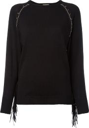 Studded Trim Sweatshirt Women Cottonpolyesterpolyurethanepalm Kernel Acid 40, Black
