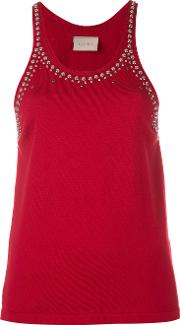 Studded Trim Vest Top Women Cotton 42, Red