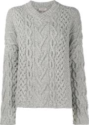 Cable Knit V Neck Jumper Women Wool S, Women's, Grey