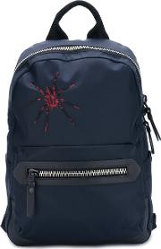 Embroidered Spider Backpack Men Calf Leatheracrylicpolyamidepolyester One Size, Blue