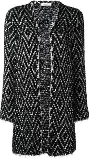 Knitted Longline Cardigan Women Cottonpolyamide Xs, Black
