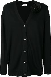Lanvin Flower Applique Cardigan Women Spandexelastanewool S, Black