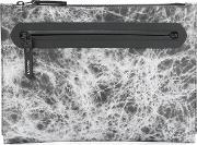 Marbled Effect Clutch Men Calf Leatherpolyester One Size, Black