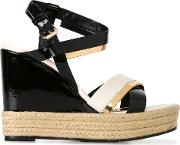 Patent Wedge Sandals Women Calf Leatherleather 35, Black