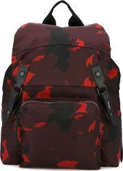Printed Backpack Men Polyamide One Size, Red
