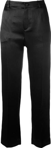 Straight Cropped Trousers Women Acetate 38, Black