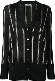 Striped Knitted Cardigan Women Viscose L, Black