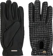 Lardini Woven Fitted Gloves Men Leathercashmerewool L, Grey