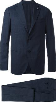 Light Check Two Piece Suit Men Cuproviscosewool 50, Blue
