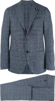 Two Piece Check Suit Men Cottonpolyesterviscosewool 54, Blue