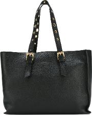L'autre Chose Eyelet Handle Tote Women Leather One Size, Black
