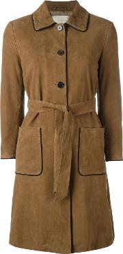 L'autre Chose Trench Coat With Contrast Black Piping Women Suede 38, Brown