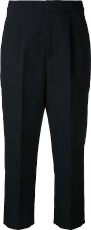 Cropped Pleated Trousers Women Cottonpolyester 34