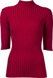 High Neck Knitted Blouse Women Polyesterrayon 36, Red