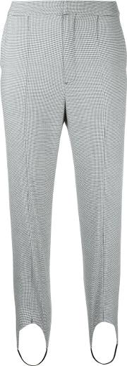 Houndstooth Strap Detail Trousers Women Polyurethanerayontencel 36, Grey