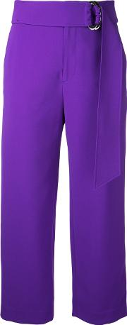 Relaxed Belted Trousers Women Polyesteracetate 36, Pinkpurple
