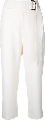 Relaxed Belted Trousers Women Polyesterpolyurethane 36, White